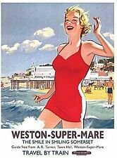 Weston Super Mare (old rail ad.) metal sign    (og 2015)