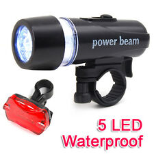 Waterproof Bright 5 LED Bike Bicycle Cycle Front & Rear Back Tail Light Lights