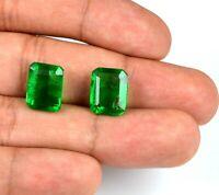 100% Natural 14-16 Carat Muzo Colombian Emerald Pair Emerald Cut AGSL Certified