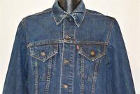 vintage 70s LEVIS TRUCKER 705 TYPE 3 DARK DENIM JEAN ROCK USA JACKET MEDIUM M