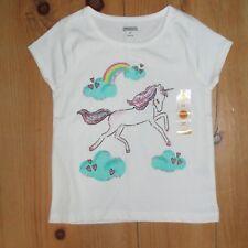 Gymboree Toddler Girls Shirt Top Sz 3T Unicorn White Pink Hearts Rainbow Glitter