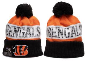 Cincinnati Bengals NFL Football Beanie Warm Winter Knit Pom Cap Hat Fleece lined
