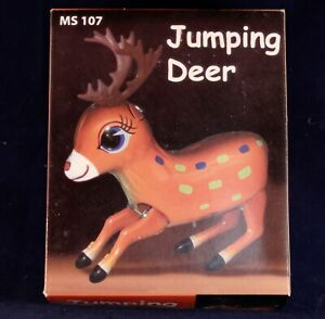 Tin Toy Collectible Wind Up Jumping Deer In Original Box!