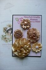 HANDMADE 5 Flower Mix CHAMPAGNE GOLD Organza Lace Satin 35-65mm NjoyfullCrafts