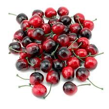 48x Deko Kirschen 2,8cm, rot/schwarz, künstlich, Früchte mit Stiel ***