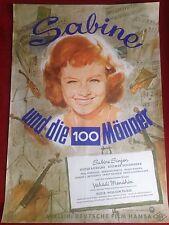 Sabine und die 100 Männer Kinoplakat Filmplakat A1 Poster Sabine Sinjen 1960
