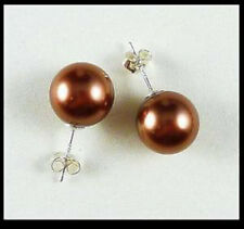 Elegant 10mm coffee color south sea shell pearl silver Stud earrings JE252
