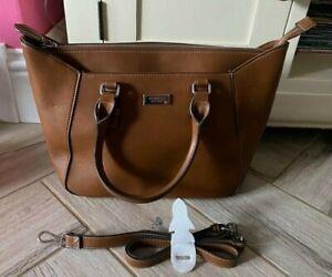 Ladies Brown Faux Leather Zipped Handbag Bag - 39 x 26 x 12cms - Fiorelli - VGC