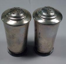 New UNIQUE Antique Sterling Silver & Crystal or Glass Salt Shaker & Pepper Set