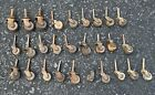 Lot of 28 vtg antique cast iron wood wooden swivel casters wheels furniture