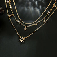 Fashion Multilayer Gold Chain Choker Necklace Women Jewelry Star Crystal Pendant