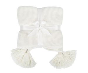 Cream Knit Tassel Throw - Lounge Blanket 1.27m X 1.52m - Bed / Home Living