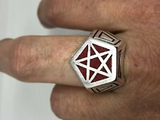 Vintage Wiccan Pentacle Mens Ring Red Coral Silver Bronze Size 12.5