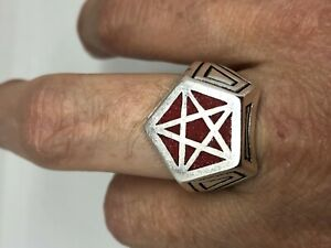 Vintage Wiccan Pentacle Mens Ring Red Coral Silver Bronze Size 10
