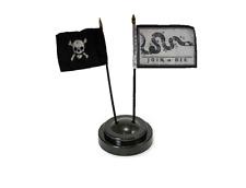 """Join Or Die Gadsden & Pirate Skull 4""""x6"""" Flag Desk Set Table Stick  Black Base"""