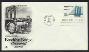 #2041 20c Brooklyn Bridge, Art Craft FDC **ANY 5=FREE SHIPPING**