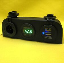 USB Dual Power Charger Outlet Surface Mount 5V 12V24V Green Voltmeter+Cig Socket