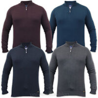Mens Jumper Threadbare Knitted Top Sweater Pullover Funnel Cotton Zip Winter New