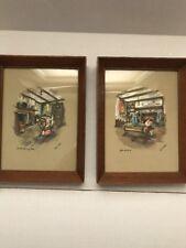 Vintage Set Of Paul Porter Framed Pictures Old Spinning Wheel And After The Hunt