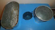 """Galvanized Planter Bucket 10"""" Wide ,Tall Round Bucket 7"""" High Blue White Pail"""