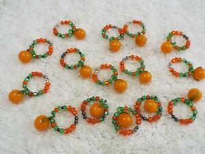 15 pcs Wine Glass Charm Set | Pumpkin | Orange Green Glass | Beads (C63)