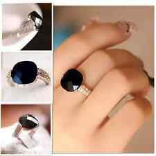 Fashion Retro Big Black Rhinestone Women Ring Jewelry crystal gemstone Wedding
