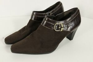 Liz & Co Magda Shoe Bootie Side Zip High Heel Sz 8 Closed Toe Brown Work Casual