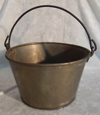 VINTAGE BRASS GRAPES JELLY BUCKET PAIL WROUGHT IRON HANDLE