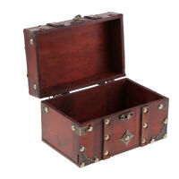 Vintage Wooden Jewelry Storage Case Treasure Chest Box Home Table Decor A