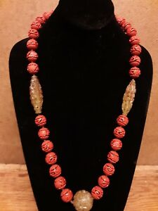 CHINESE CARVED CINNABAR SHOU BEAD, CARVED NEPHRITE JADE NECKLACE