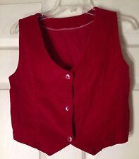Vintage Red Velvet Handsewn Vest Costume Period Button Sz S/M Unique Olden Days