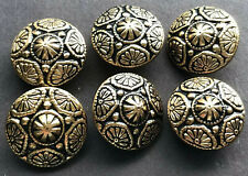 Vintage Floral Raised Pattern Gold Tone Metal Buttons Lot of 6