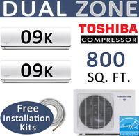 18000 BTU 21 SEER ENERGY STAR Dual Zone Ductless Mini Split: 2 x 9000, 15' Kits
