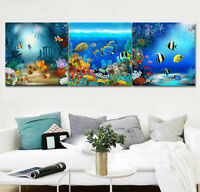 Abstract Art Wall Decor Print Painting Canvas Undersea Swimming Fish Coral Reef