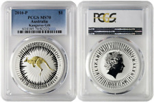 2016-P Australia Kangaroo Gold Gilted | 1oz Silver coin | Pcgs Ms70 | Ogp & Coa
