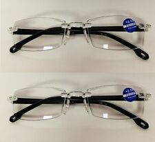2 Pack Reading Glasses Readers Women Men Clear Square Classic No Frame