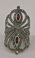 9927866 925er Silber Granat-Markasit-Ring Gr.56  Vintage