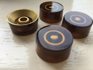 Guitar Control Speed Knobs.Amber Acrylic White Numerals for LP SG or Strat Style