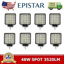 8X 48W Square LED Work Light Spot Lamp For Offroad Truck Tractor Boat Bar Ford