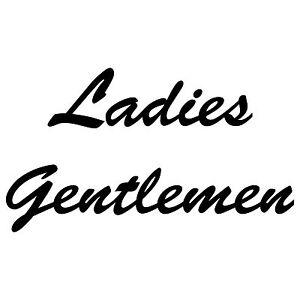 Set Aufkleber schwarz Folie Tattoo Wandtattoo Ladies Gentlemen Schriftzug WC 00