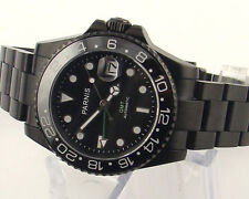 Parnis 40mm black dial sapphire Ceramic Bezel GMT automatic mens watch 964