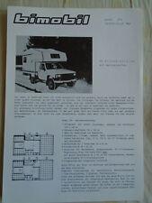 Bimobil Husky 270 Toyota Hilux 4WD Motorhome brochure 1980's German text