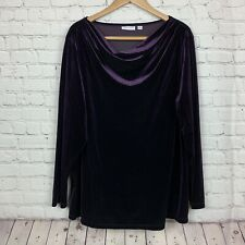 Susan Graver Blouse Velvet Cowl Plum L/S Top Shirt Holiday Velour Size 2X
