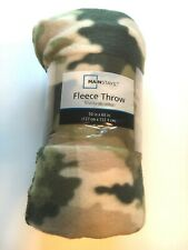 "Camo Fleece Throw Blanket 50"" x 60"" Mainstays Camouflage Military Green Nip"