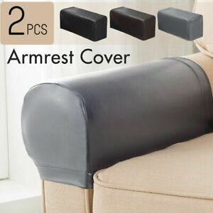 2Pcs PU Leather Stretch Sofa Armrest Covers Couch Lounge Arm Protector Slipcover