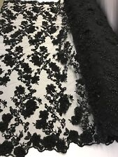 Bridal Fabric - Black Lace 3D Flower-Floral Embroidered Mesh Pearls By The Yard