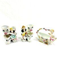 3 Vintage Ucagco Porcelain Colonial Girl /Boy Floral Bud Vase/Basket  Set