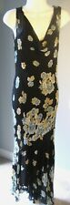 Vintage Lola P Dress Sexy Sheer Lined Long Black w/Floral Hi-Low Hem Med EC