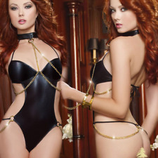 Ladies sexy lingerie PU jumpsuit patent leather sexy underwear