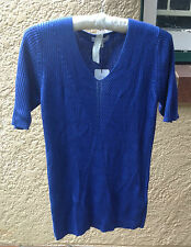 Meredith Blue Knit Top Blouse Women Size XS 8 Cotton Viscose Sleeve DESIGNER